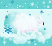 Polar Bear walks. Polar Bear goes. Blue and white background, on a background of snowflakes Stock Images