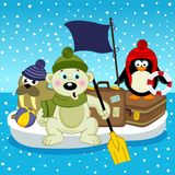 Polar bear walrus penguin travel on floe Stock Photography
