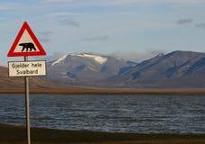 Polar Bear warning. Famous Polar Bear road sign on Svalbard Stock Image