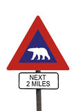 Polar Bear warning roadsign Stock Photos