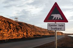 Polar bear warning sign Stock Image