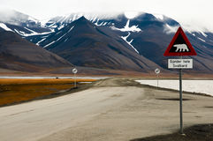 Polar Bear Warning Sign - Longyearbyen - Svalbard. Polar Bear Warning Sign in Longyearbyen - Svalbard Royalty Free Stock Photography