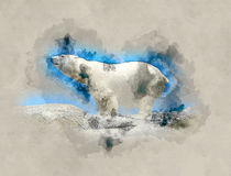 Polar bear watercolor illustration. Royalty Free Stock Images