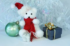Polar bear wearing a hat and a red scarf posed next to gifts with shiny knots on a Christmas holiday decor. A polar bear wearing a hat and a red scarf posed next Royalty Free Stock Image