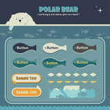 Polar bear webpage template. Webpage template of polar bear theme and fish pattern buttons Royalty Free Stock Image