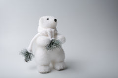 Polar bear winter, christmas decorations on white background Stock Photography