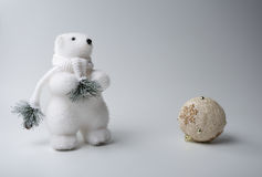 Polar bear winter, christmas decorations on white background stock images