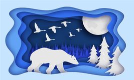 Polar bear is in the winter forest. Past The Trees. Night, moon. Birds fly away. New year. Paper style. Blue tones. 10 eps royalty free illustration