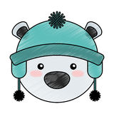 Polar bear with winter hat Royalty Free Stock Image