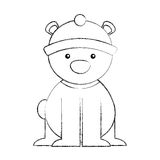 Polar bear with winter hat Stock Photos