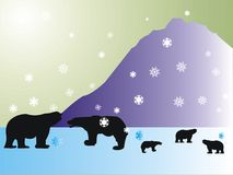 Polar bears. Colored background with polar bear shapes and snow Stock Image
