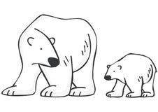 Polar Bears. Mother and Baby Polar Bears Royalty Free Stock Photo