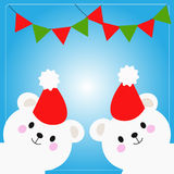 Polar bears christmas greetings Royalty Free Stock Images