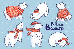 Polar Bears collection in red sweater, scarf and hat. Cute hand drawn polar bear set in red sweater, scarf and hat. Vector illustration Royalty Free Stock Images