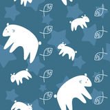 Polar bears family on night sky seamless pattern. Polar bears family on night sky fantastic seamless pattern Stock Photos