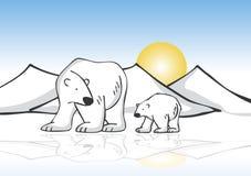 Polar Bears on Ice. Mother and Baby Polar Bear on Ice Royalty Free Stock Image