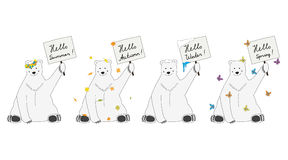 Polar bears meet seasons Stock Photo
