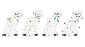 Polar bears meet seasons. Unusual polar bears with tables royalty free illustration