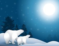 Polar Bears in Moonlight. A clip art illustration featuring a  polar bear walking in the snow with shadows, moonlight and trees in background Royalty Free Stock Photo
