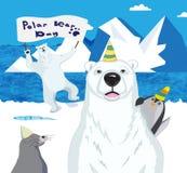 Polar bears, a penguin and a seal celebrate Polar bear day. Stock Image
