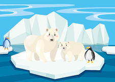 Polar bears and penguins on ice Royalty Free Stock Photo