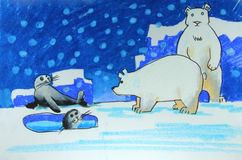 Polar bears and seals on ice painting. Background stock illustration