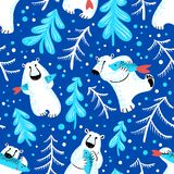 Polar bears seamless pattern with fish and fur trees. Cute backg Royalty Free Stock Photos