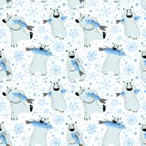 Polar bears seamless pattern with fish and snowflakes. Cute back Royalty Free Stock Photography
