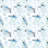 Polar bears seamless pattern with fish and snowflakes. Cute back Stock Image
