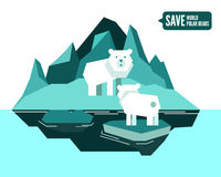 Polar bears is separated from family. global warming concept. Stock Images