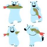 Polar bears set with fish. Cute wild antarctic and arctic animal. S. Vector illustration for winter seasonal design elements Stock Image
