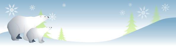 Polar Bears in The Snow. An illustration featuring a couple of polar bears in the snow Stock Photo