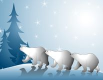 Polar Bears Walking in Snow. A clip art illustration featuring a group of 3 polar bears walking in the snow with shadows and tree in background Stock Images