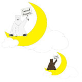 Polar and brown bears wish sweet dreams. Unusual polar and brown bear with tables royalty free illustration