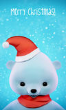 Polar Christmas Bear card with clipping path Royalty Free Stock Images