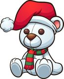 Polar Christmas bear sitting down. stock illustration
