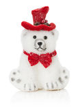 Polar Christmas bear toy isolated on the white background Stock Images