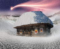 Polar fairy houses. Magic mountain country, the home of Father Frost, Santa Claus, Joulupukki, and other legendary heroes of the winter holidays. A cozy little Stock Photo