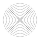 Polar grid of 10 concentric circles and 45 degrees steps. Blank vector polar graph paper.  stock illustration