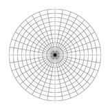 Polar grid of 10 concentric circles and 10 degrees steps. Blank vector polar graph paper.  stock illustration