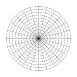 Polar grid of 10 concentric circles and 5 degrees steps. Blank vector polar graph paper.  royalty free illustration