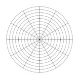 Polar grid of 10 concentric circles and 30 degrees steps. Blank vector polar graph paper.  stock illustration