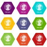 Polar grid icons set 9 vector. Polar grid icons 9 set coloful isolated on white for web Stock Photos