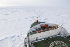 Polar icebreaker navigating through thick ice floe. At Weddell Sea, Antarctica in winter Stock Image