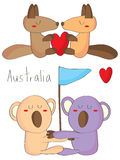 Koala kangaroo hug love Royalty Free Stock Photography