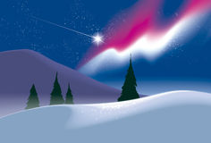 Polar landscape. Northern lights. Northern Lights and the flight of the meteorite. Hands vector drawing Royalty Free Stock Photography