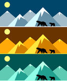 Polar landscape panorama in three colors. Stock Photography