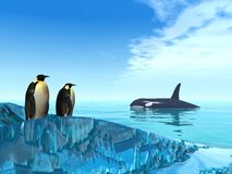 Polar life. 3d render of a couple of penguins on an iceberg watching at a killer whale stock illustration