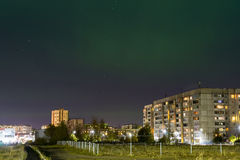 Polar lights above the city Royalty Free Stock Images