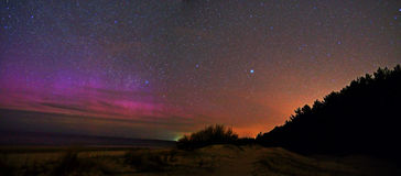 Aurora borealis or Polar lights and stars panoram Royalty Free Stock Photos
